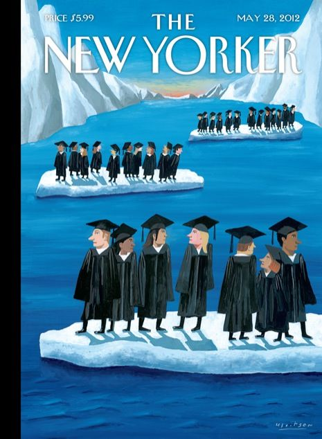 """Click through for the story behind this week's cover, """"Adrift,"""" by Mark Ulriksen, and for a slideshow of past New Yorker covers about graduation: http://nyr.kr/Kr4ST7"""