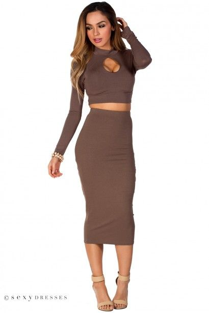 Maxine&quot Toffee Brown Cut Out Long Sleeve Crop Top 2 Piece Dress ...