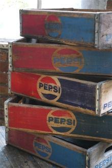 1 caisse bois brasserie café USA pepsi Cola