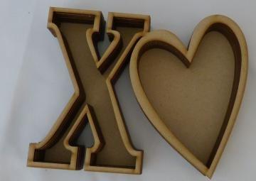 Wood X-Heart layer shadow box