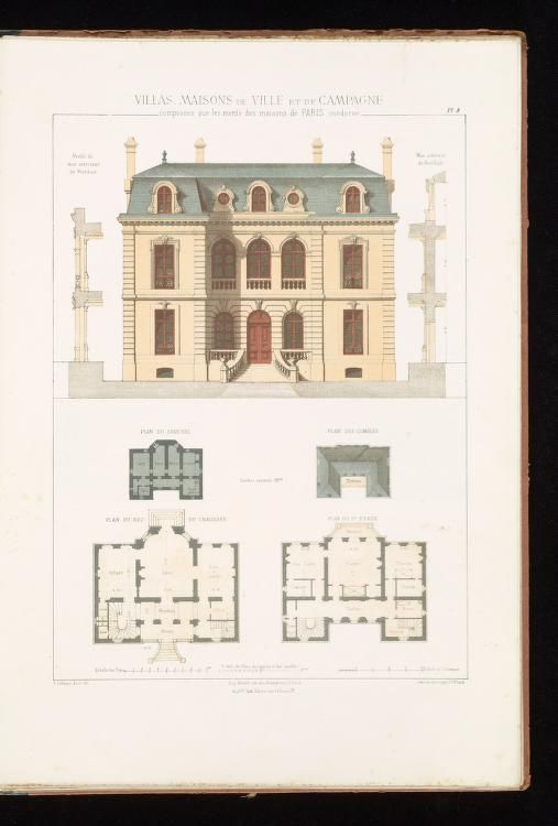 Villas Maisons De Ville Et De Campagne Composees Sur Les Motifs Des Habitations De Architecture Blueprints Creative Architecture French Country House Plans