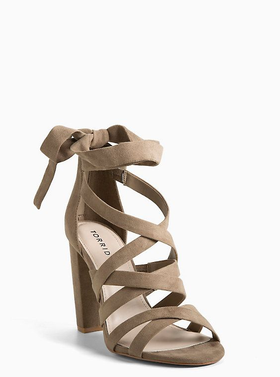 Strappy Wrap Lace-Up Heels (Wide Width), TAN/BEIGE | Shoes ...