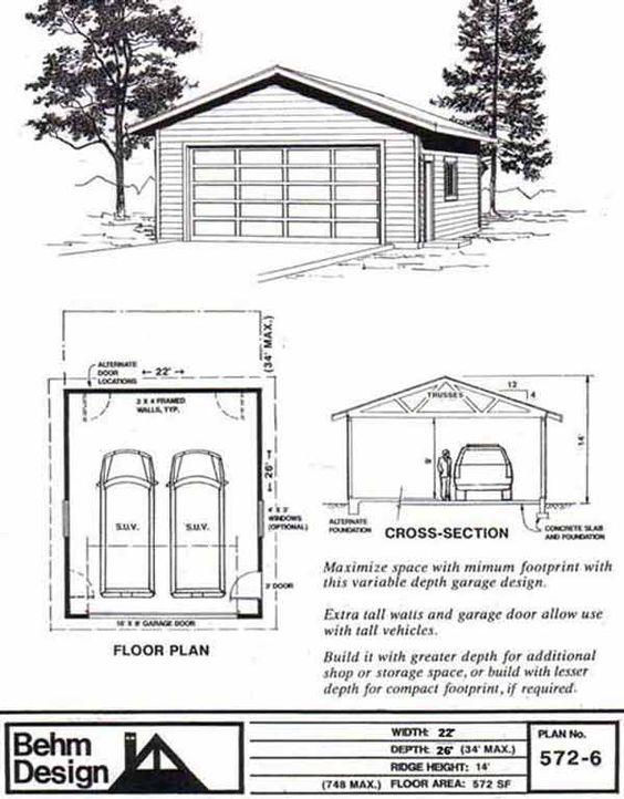 Two Car Garage Plan 572 6 22 39 X 26 39 By Behm Design