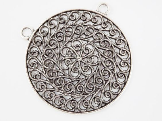 Large Ornate Filigree Round focal pendant  Matte by LylaSupplies, $4.00