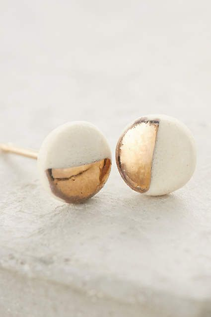 """Porcelain Pebble Posts handmade in US by Zoe Comings, 0.25"""" diameter, 14k gold filling & painted porcelain, $48 at Anthro (online exclusive.) Also available insure"""