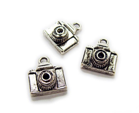 Bali style silver pewter single sided camera charms (12x12mm, pack of 5)