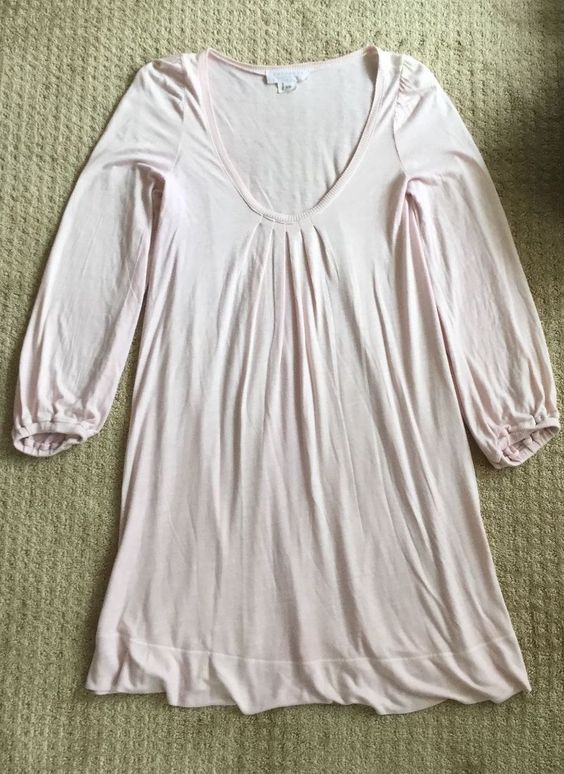 Theodore Beverly Hills X Small Pink Pleated Scoop Neck Long Sleeve Dress