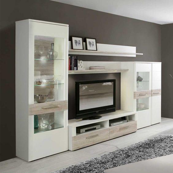 Anbauwand in Weiß Eiche Dekor Beleuchtung (5-teilig - wohnwand wei modern