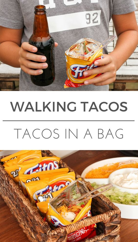 Walking Tacos Recipe -- these little tacos in a bag are equally perfect for game day get togethers or busy school nights, even camping… So simple and easy to make! | via @Tara Kuczykowski on unsophisticook.com