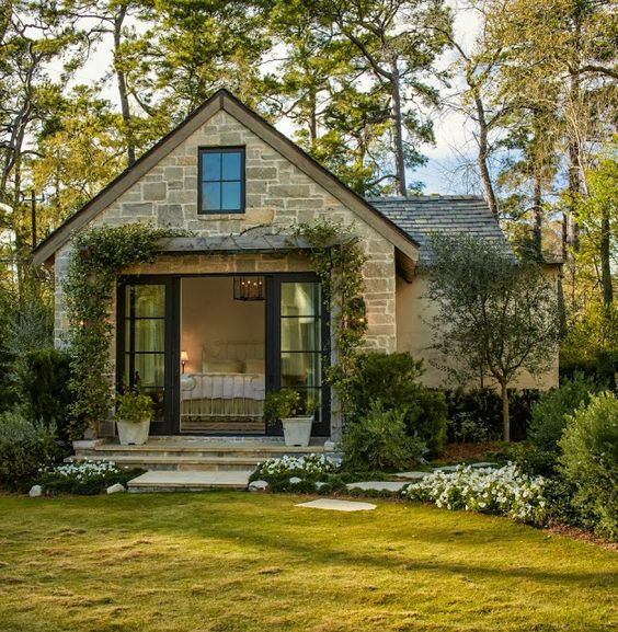 French doors house and nice on pinterest for Tiny stone cottage