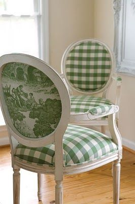 Green Check Chairs w/ Toile Accents.