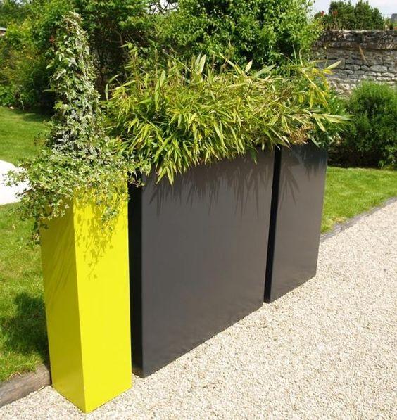 pflanzkübel hoch grüner sichtschutz pflanzen terrasse balkon  Haus ...