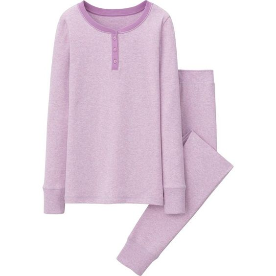 UNIQLO Women Lounge Set (Long Sleeve) (26 CAD) ❤ liked on Polyvore featuring intimates, sleepwear, pajamas, purple, sleep wear, pyjamas, loungewear, long sleeve pajamas and uniqlo