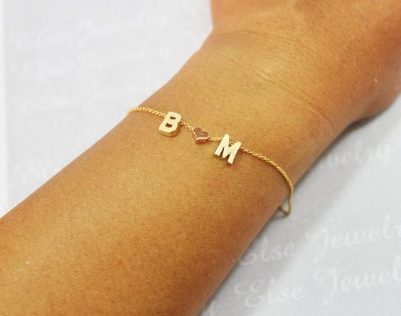 Personalized Gold Letter Bracelet Valentine by ElseJewelry on Etsy