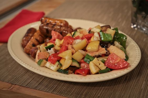 the chew   Recipe    Michael Symon's Grilled Sausage And Vegetables