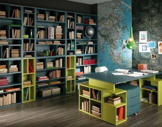 desenfadado despacho, mesa de estudio-trabajo y librerías www.moblestatat.com horta guinardó barcelona