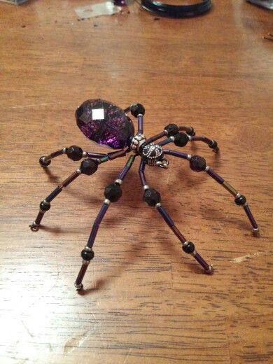 Purple & Black beaded spider, handmade by me.