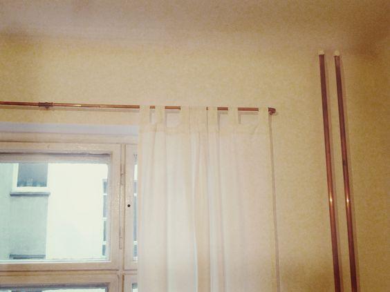 gardinenstange in kupfer mit kupferrohr home sweet home. Black Bedroom Furniture Sets. Home Design Ideas