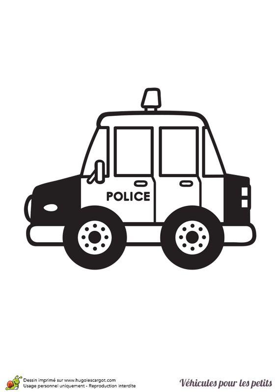 Une petite voiture de police vue de profil colorier - Voiture de police coloriage ...
