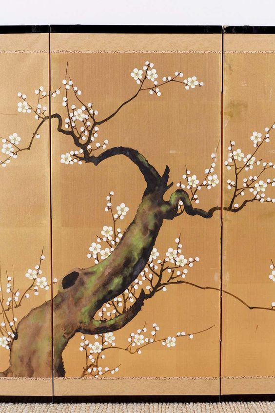 Japanese Four Panel Screen Ancient Sakura Cherry Blossom Sakura Cherry Blossom Japanese Art Leaf Art