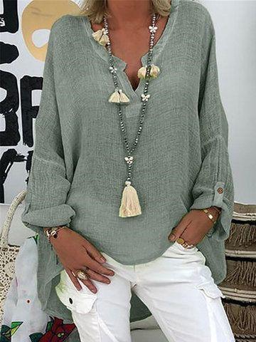 Blusa de manga comprida chique de cor sólida com decote em V - NewChic Móvel