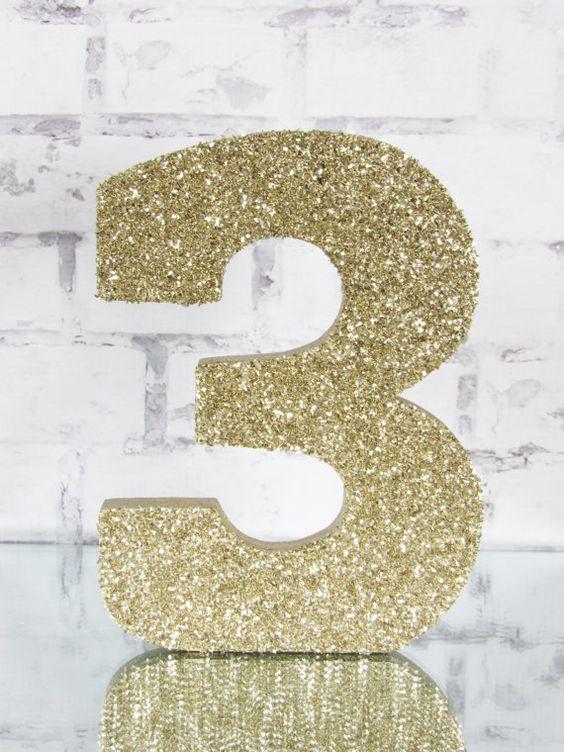 Glass Glitter Letter - Gold Glitter Number - Birthday Photo Prop - Golden…
