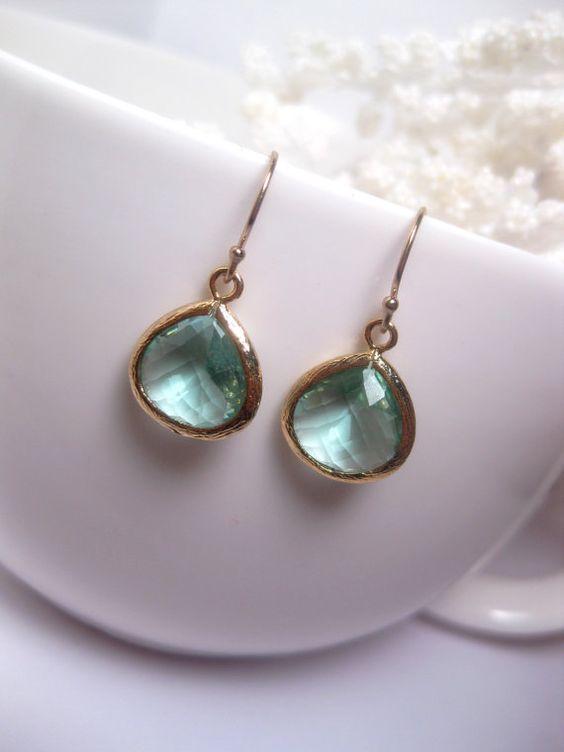 Simple Prasiolite Drop Earrings: