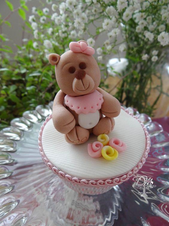 Cupcake decorado para Chá de Bebê Cupcake Baby Shower
