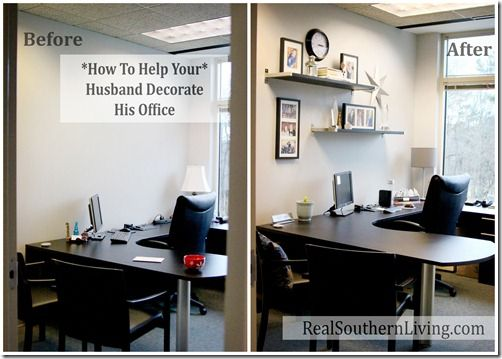 Help your husband decorate his boring small office for Decorated office