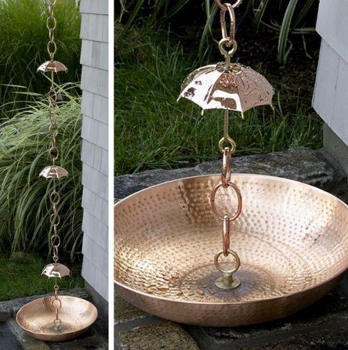 Decorative Copper Rain Chain with Umbrellas.: