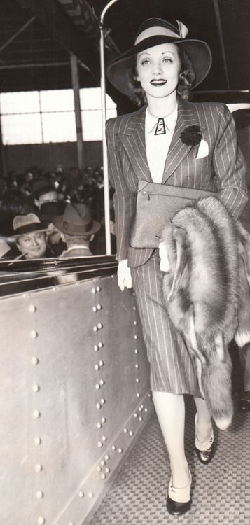 Marlene Dietrich, 1938 fashion style photo print ad movie star war era 30s 40s pinstripe suit jacket skirt WWII pin up