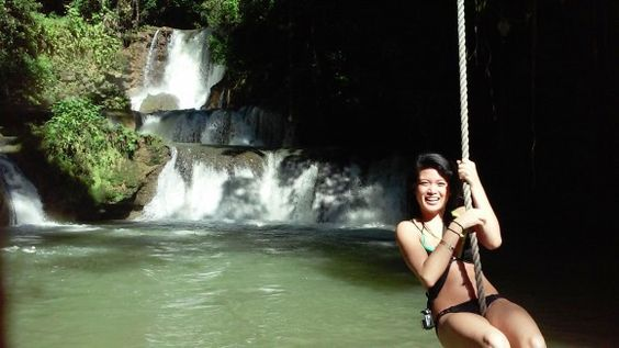 At the YS Falls, Jamaica, you can swing on a rope into the water!