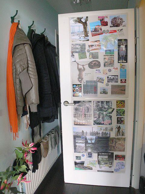 Un moodboard tambi n puede decorar la puerta de un armario - Armario de una puerta ...