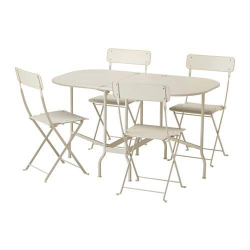 Tavolo Pieghevole Ikea Con Sedie.Saltholmen Tavolo 4 Sedie Pieghevoli Giardino Beige Tavolo E