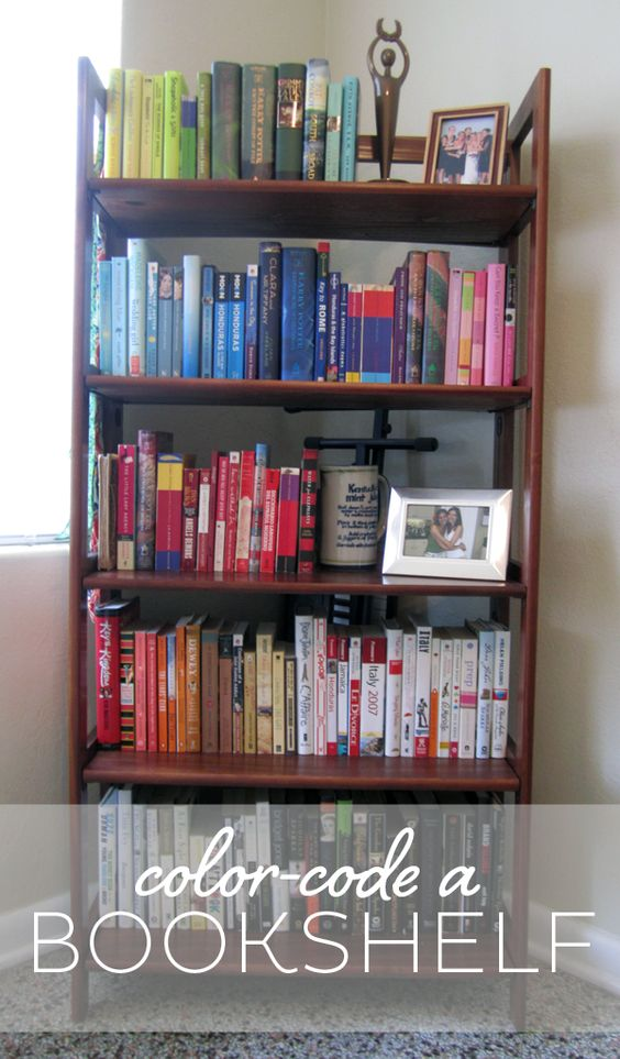 How to color-code a bookshelf. #books #diy