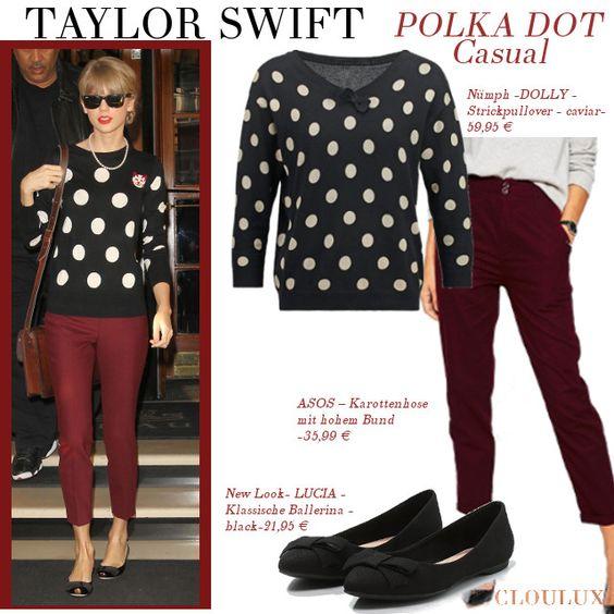Taylor Swift in einem gepunkteten Sweater zu bordeauxroter Hose