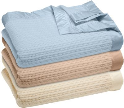 Thermal Wool Blanket With Satin Binding Trim Like