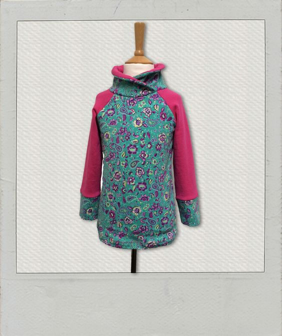 Pullover & Sweatshirts - *Raglan Pullover mit Kragen, Blumen, Gr.116* - ein Designerstück von Vibrant17four bei DaWanda