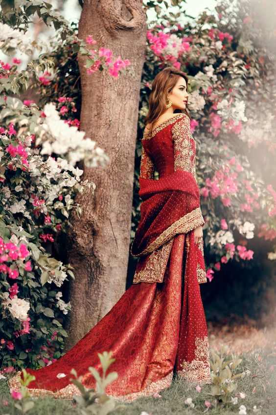 Embroidered Red shirt with banarsi lehnga for brides