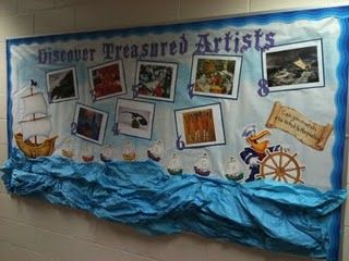 """My interactive bulletin board for the """"Sailing for Treasure"""" school wide theme. We have one artist for each month we are in school. Aug/Sept and Dec/Jan are combined. One piece is featured from each artist. The students will fill out which piece they.."""