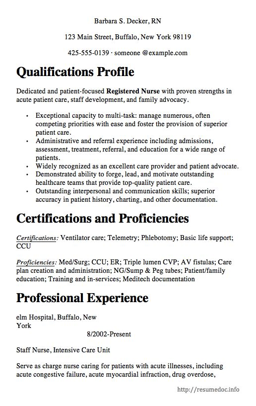 Here is The Free Nursing Resume Sample, You can Preview it here or - med surg nurse resume