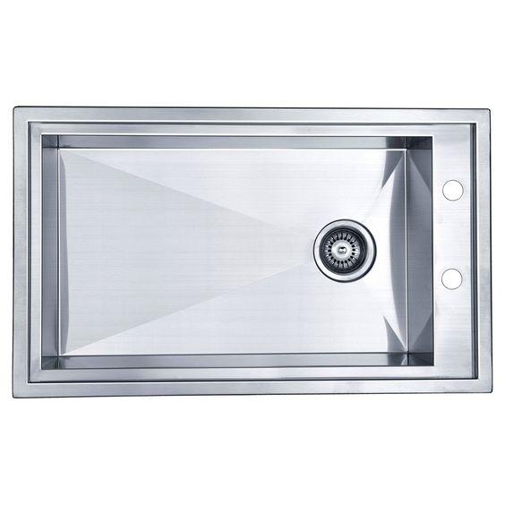 """31.5"""" x 18.88"""" Dual Mount Square Single Bowl Kitchen Sink"""