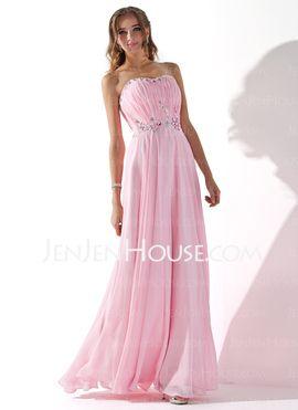 A-Line/Princess Sweetheart Sweep Train Chiffon Evening Dresses With Ruffle Beading (017005597) - JenJenHouse $149.99