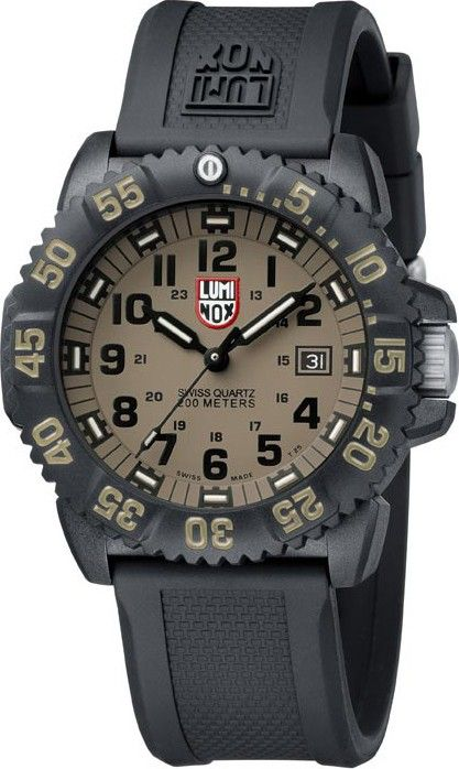 Luminox mens evo navy seal colormark plastic watch black rubber strap khaki dial l3063 for Watches navy seals use