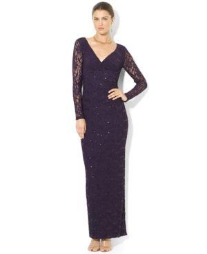 261.49 Lauren Ralph Lauren Dress, Long-Sleeve Lace Sequin Gown
