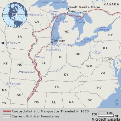 map of the Marquette-Joliet expedition