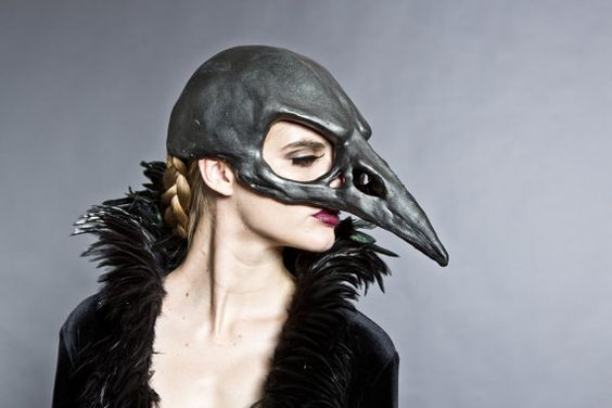 Bird skull mask in a black graphite finish by HighNoonCreations