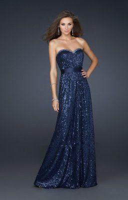 robes de soirée pailletée bleue