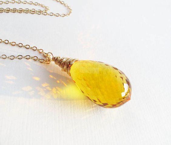 "citrine briolette gold necklace, faceted AAA gemstone pendant necklace ""November Girl"""