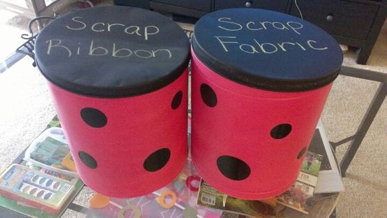 Old popcorn tins turned into useable storage tins